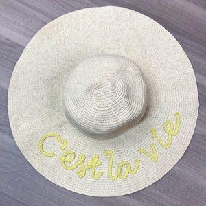 C'est la Vie Natural Fiber Wide Brim Hat